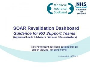SOAR Revalidation Dashboard Guidance for RO Support Teams