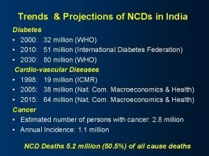 Trends Projections of NCDs in India Diabetes 2000