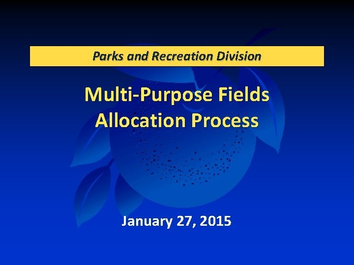 Parks and Recreation Division MultiPurpose Fields Allocation Process