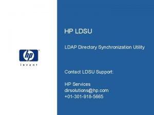 HP LDSU LDAP Directory Synchronization Utility Contact LDSU
