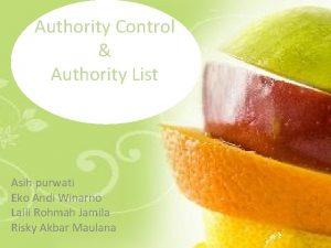 Authority Control Authority List Asih purwati Eko Andi