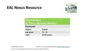 EAL Nexus Resource Ozymandias by Percy Bysshe Shelley