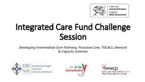 Integrated Care Fund Challenge Session Developing Intermediate Care