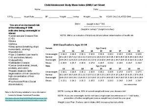 ChildAdolescent Body Mass Index BMI Fact Sheet Name