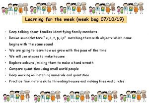 Learning for the week week beg 071019 Keep
