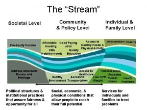The Stream Community Policy Level Societal Level ProEquity