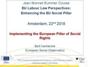 Jean Monnet Summer Course EU Labour Law Perspectives