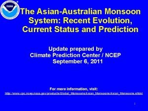 The AsianAustralian Monsoon System Recent Evolution Current Status