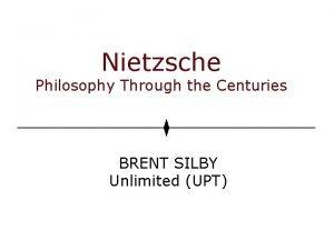 Nietzsche Philosophy Through the Centuries BRENT SILBY Unlimited