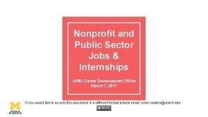 Nonprofit and Public Sector Jobs Internships UMSI Career
