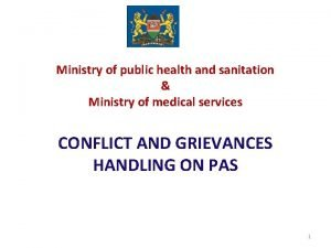 Ministry of public health and sanitation Ministry of