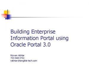 Building Enterprise Information Portal using Oracle Portal 3
