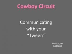 Cowboy Circuit Communicating with your Tween Kati Willis