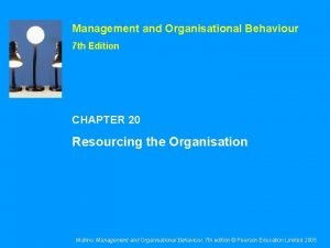 Management and Organisational Behaviour 7 th Edition CHAPTER