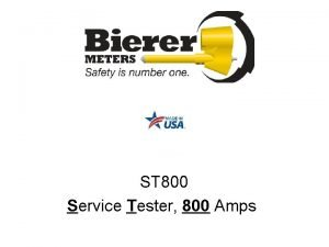 ST 800 Service Tester 800 Amps Overview Theory