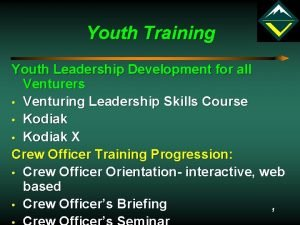 Youth Training Youth Leadership Development for all Venturers