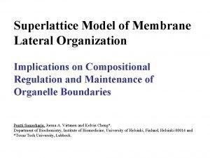Superlattice Model of Membrane Lateral Organization Implications on