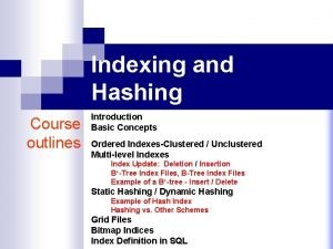 Indexing and Hashing Course outlines Introduction Basic Concepts