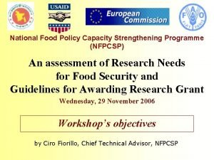National Food Policy Capacity Strengthening Programme NFPCSP An