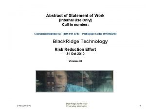 Abstract of Statement of Work Internal Use Only