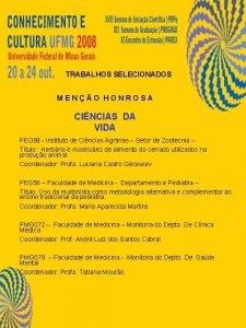 TRABALHOS SELECIONADOS MENO HONROSA CINCIAS DA VIDA PEG