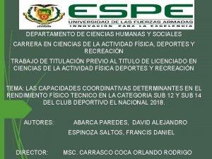 DEPARTAMENTO DE CIENCIAS HUMANAS Y SOCIALES CARRERA EN