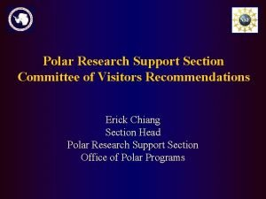 Polar Research Support Section Committee of Visitors Recommendations