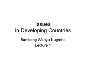 Issues in Developing Countries Bambang Wahyu Nugroho Lecture