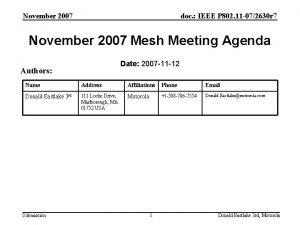 November 2007 doc IEEE P 802 11 072630