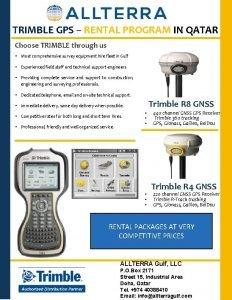 TRIMBLE GPS RENTAL PROGRAM IN QATAR Choose TRIMBLE