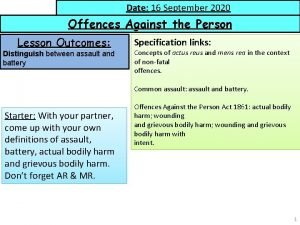 Date 16 September 2020 Date Offences Against the