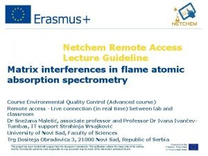 Netchem Remote Access Lecture Guideline Matrix interferences in