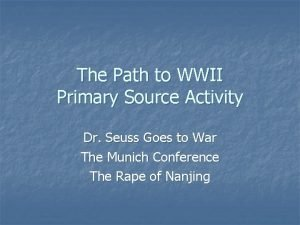 The Path to WWII Primary Source Activity Dr