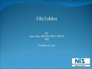 File Tables By Sam Nasr MCAD MCTS NIS