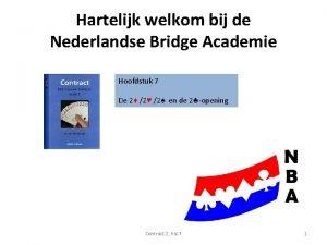 Hartelijk welkom bij de Nederlandse Bridge Academie Hoofdstuk