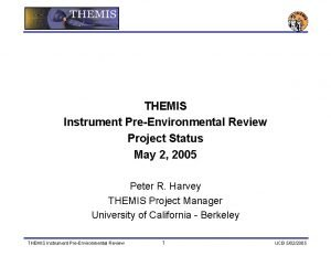 THEMIS Instrument PreEnvironmental Review Project Status May 2