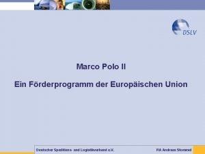 Marco Polo II Ein Frderprogramm der Europischen Union