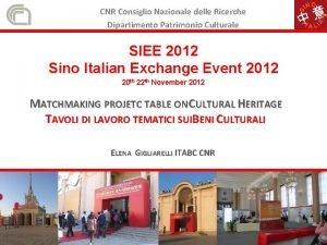 CNR Consiglio Nazionale delle Ricerche Dipartimento Patrimonio Culturale