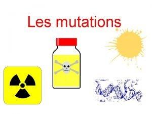 Les mutations I Introduction II Principales mutations 1