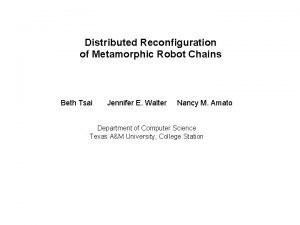 Distributed Reconfiguration of Metamorphic Robot Chains Beth Tsai