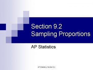 Section 9 2 Sampling Proportions AP Statistics Section