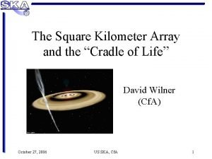 The Square Kilometer Array and the Cradle of