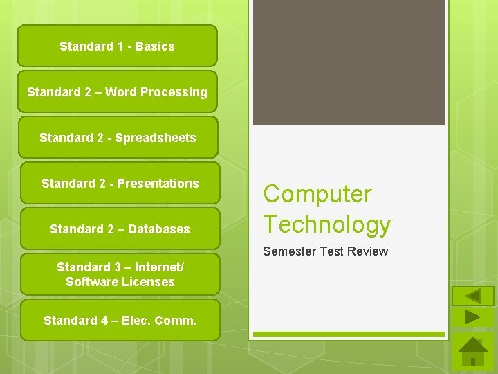 Standard 1 Basics Standard 2 Word Processing Standard
