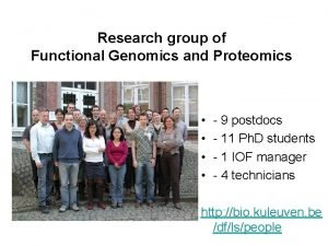 Research group of Functional Genomics and Proteomics 9