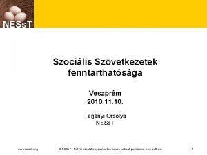 NESs T Szocilis Szvetkezetek fenntarthatsga Veszprm 2010 11