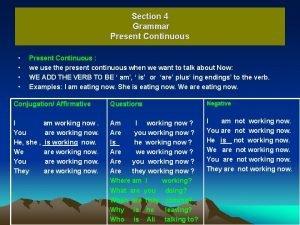 Section 4 Grammar Present Continuous Present Continuous we