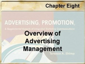 Chapter Eight Overview of Advertising Management Chapter Eight
