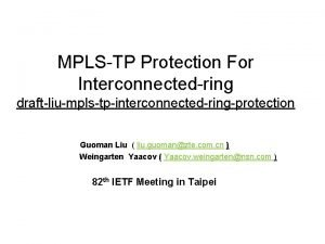 MPLSTP Protection For Interconnectedring draftliumplstpinterconnectedringprotection Guoman Liu liu