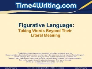 Figurative Language Taking Words Beyond Their Literal Meaning