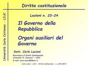 Universit Carlo Cattaneo LIUC Diritto costituzionale Lezioni n